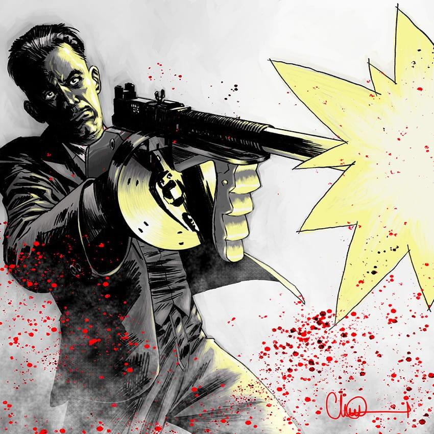Gangster John Dillinger print for Lyon Comics Festival 2019