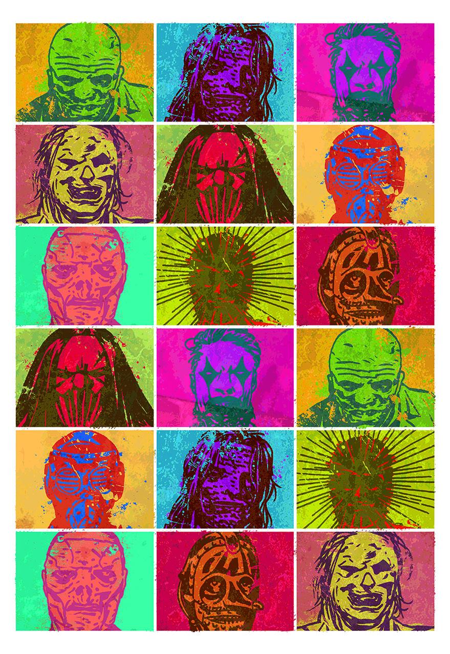 Slipknot pop art heads for MM magazine